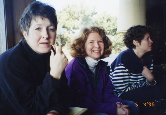 Janis Hardman, Phylis Myles, and Terri Kraemer at a 1996 Oregon Women Lawyers Board Retreat